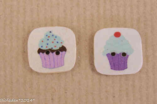 """Cupcakes"" , Kokos,  16mm, 2er Pack."